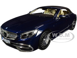 2018 Mercedes Maybach S650 Cabriolet Dark Blue Metallic Black Top 1/18 Diecast Model Car Norev 183472