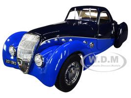 1937 Peugeot 302 Darl Mat Coupe Dark Blue Blue 1/18 Diecast Model Car Norev 184696