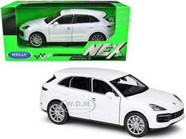 Porsche Cayenne Turbo White Silver Wheels NEX Models 1/24 Diecast Model Car Welly 24092