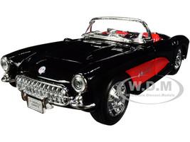 1957 Chevrolet Corvette Convertible Black Red Red Interior NEX Models 1/24 Diecast Model Car Welly 29393