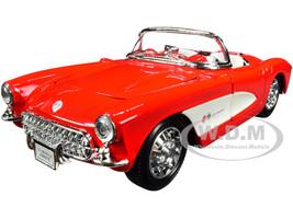 1957 Chevrolet Corvette Convertible Red White White Interior NEX Models 1/24 Diecast Model Car Welly 29393