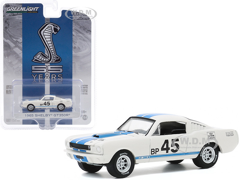 1965 Ford Mustang Shelby GT350R #45 White Blue Stripes Mustang GT350 55th Anniversary Anniversary Collection Series 11 1/64 Diecast Model Car Greenlight 28040 A