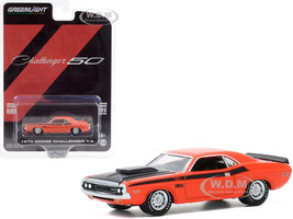 1970 Dodge Challenger T/A Orange Black Hood Black Stripes Dodge Challenger 50th Anniversary Challenger 50 Anniversary Collection Series 11 1/64 Diecast Model Car Greenlight 28040 B