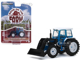 1982 Ford 5610 Front Loader Tractor Blue Black White Top Down on the Farm Series 4 1/64 Diecast Model Greenlight 48040 C