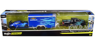 2004 Chevrolet Silverado SS Pickup Truck Bed Cover Black 2016 Chevrolet Camaro SS Blue Metallic Enclosed Car Trailer Blue Team Haulers Series 1/64 Diecast Model Cars Maisto 11404-20 A