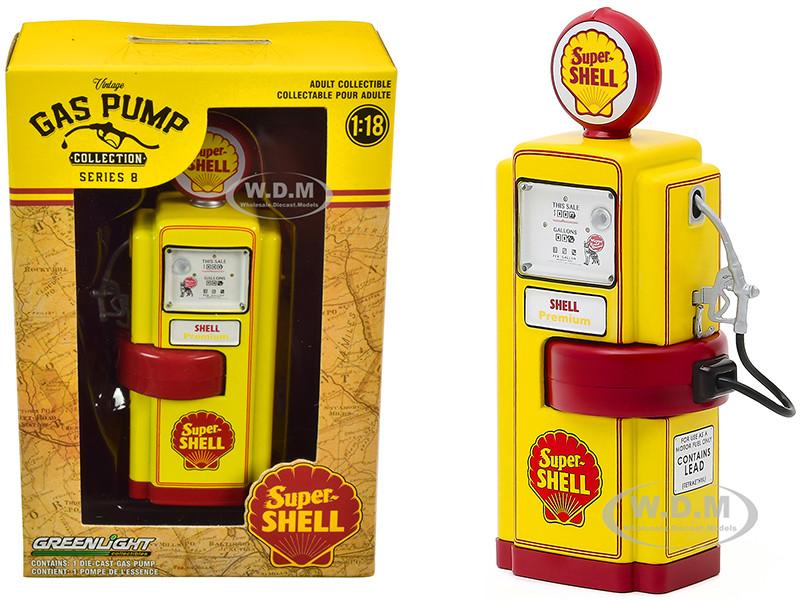 1948 Wayne 100-A Gas Pump Super Shell Yellow Red Vintage Gas Pumps Series 8 1/18 Diecast Model Greenlight 14080 A