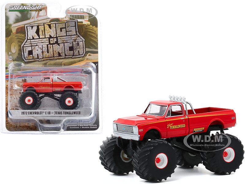 1972 Chevrolet C-10 Monster Truck Texas Tumbleweed Orange Kings of Crunch Series 7 1/64 Diecast Model Car Greenlight 49070 B