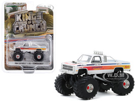 1984 Chevrolet C-20 Monster Truck Stomper Bully White with Stripes Kings of Crunch Series 7 1/64 Diecast Model Car Greenlight 49070 C