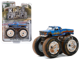 1996 Ford F-250 Monster Truck Bigfoot #7 Blue Dirty Version Kings of Crunch Series 7 1/64 Diecast Model Car Greenlight 49070 F