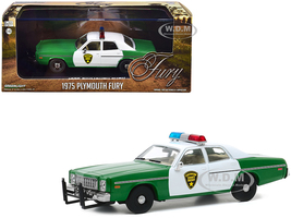 1975 Plymouth Fury Chickasaw County Sheriff Green White 1/43 Diecast Model Car Greenlight 86595