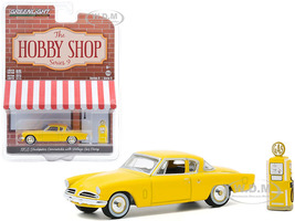 1953 Studebaker Commander Yellow Vintage Gas Pump The Hobby Shop Series 9 1/64 Diecast Model Car Greenlight 97090 A