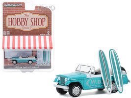 1968 Jeep Jeepster Aquamarine Metallic Two Surfboards The Hobby Shop Series 9 1/64 Diecast Model Car Greenlight 97090 B