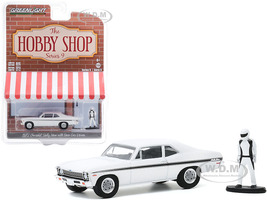 1972 Chevrolet Rally Nova White Black Stripes Race Car Driver Figurine The Hobby Shop Series 9 1/64 Diecast Model Car Greenlight 97090 C