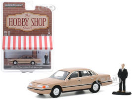 1992 Ford Crown Victoria LX Gold Metallic Man in Suit Figurine The Hobby Shop Series 9 1/64 Diecast Model Car Greenlight 97090 E