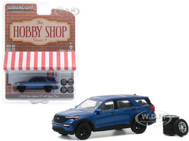 2020 Ford Explorer ST Blue Metallic Spare Tires The Hobby Shop Series 9 1/64 Diecast Model Car Greenlight 97090 F
