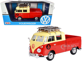 Volkswagen Type 2 T1 #8 Pickup Truck Roof Rack Luggage Red Yellow 1/24 Diecast Model Car Motormax 79582