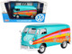 Volkswagen Type 2 T1 Delivery Van Peace Turquoise Metallic 1/24 Diecast Model Car Motormax 79583