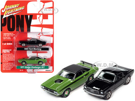 1971 Dodge Challenger R/T Green 1965 Ford Mustang Fastback Black Set of 2 pieces Pony Power Limited Edition 2304 pieces Worldwide 1/64 Diecast Model Cars Johnny Lightning JLPK010