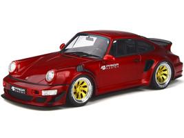 Porsche PRIOR Design Custom Widebody Red Metallic Gold Wheels Limited Edition 999 pieces Worldwide 1/18 Model Car GT Spirit GT277