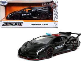 Lamborghini Veneno S.W.A.T. Police Car Matt Black Hyper-Spec 1/24 Diecast Model Car Jada 32261