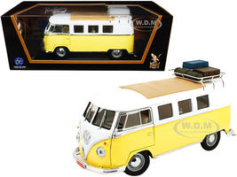 1962 Volkswagen Microbus Roof Rack Luggage Yellow White 1/18 Diecast Model Road Signature 92328