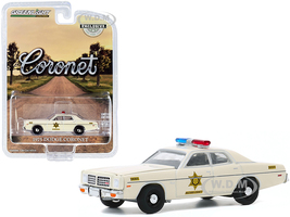 1975 Dodge Coronet Cream Hazzard County Sheriff Hobby Exclusive 1/64 Diecast Model Car Greenlight 30187