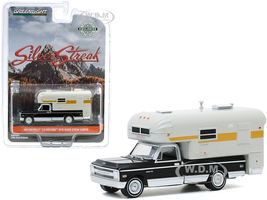 1969 Chevrolet C10 Cheyenne Pickup Truck Silver Streak Camper Black Cream Hobby Exclusive 1/64 Diecast Model Car Greenlight 30190