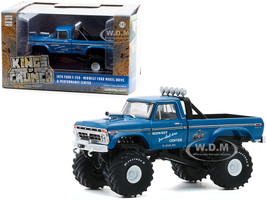 1974 Ford F-250 Ranger XLT Monster Truck 48-Inch Tires Midwest Four Wheel Drive Center Blue Kings of Crunch 1/43 Diecast Model Car Greenlight 88031