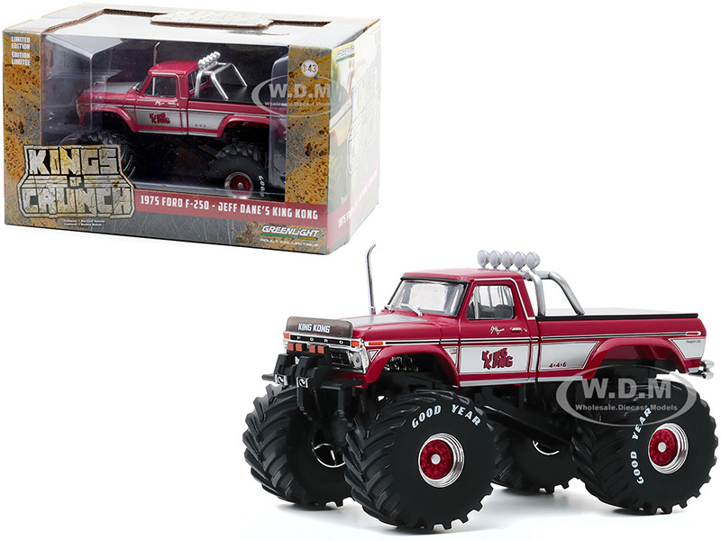 1975 Ford F-250 Ranger XLT Monster Truck 66-Inch Tires Bed Cover King Kong Pink Kings of Crunch 1/43 Diecast Model Car Greenlight 88032