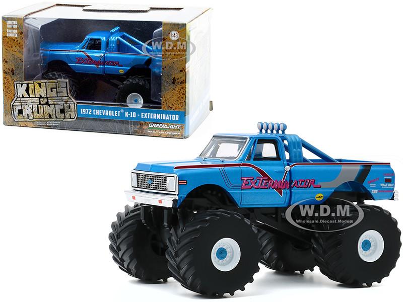 1972 Chevrolet K-10 Monster Truck 66-Inch Tires ExTerminator Blue Kings of Crunch 1/43 Diecast Model Car Greenlight 88033