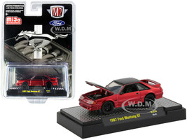 1987 Ford Mustang GT Candy Red Black Limited Edition 3300 pieces Worldwide 1/64 Diecast Model Car M2 Machines 31500-MJS30