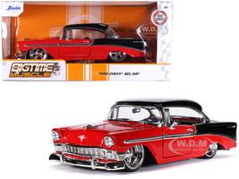 1956 Chevrolet Bel Air Red Black Bigtime Muscle 1/24 Diecast Model Car Jada 31861