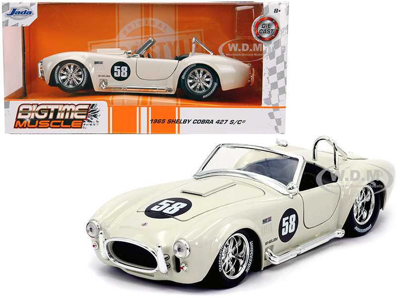 1965 Shelby Cobra 427 S/C #58 Cream Bigtime Muscle 1/24 Diecast Model Car Jada 31864