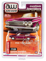 1962 Chevrolet Impala SS Convertible Plum Purple Yellow Stripes Custom Lowriders Limited Edition 4800 pieces Worldwide 1/64 Diecast Model Car Autoworld CP7663