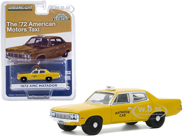 1972 AMC Matador Yellow Matador Cab Taxicab Hobby Exclusive 1/64 Diecast Model Car Greenlight 30181