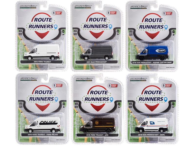 Route Runners Set of 6 Vans Series 1 1/64 Diecast Models Greenlight 53010