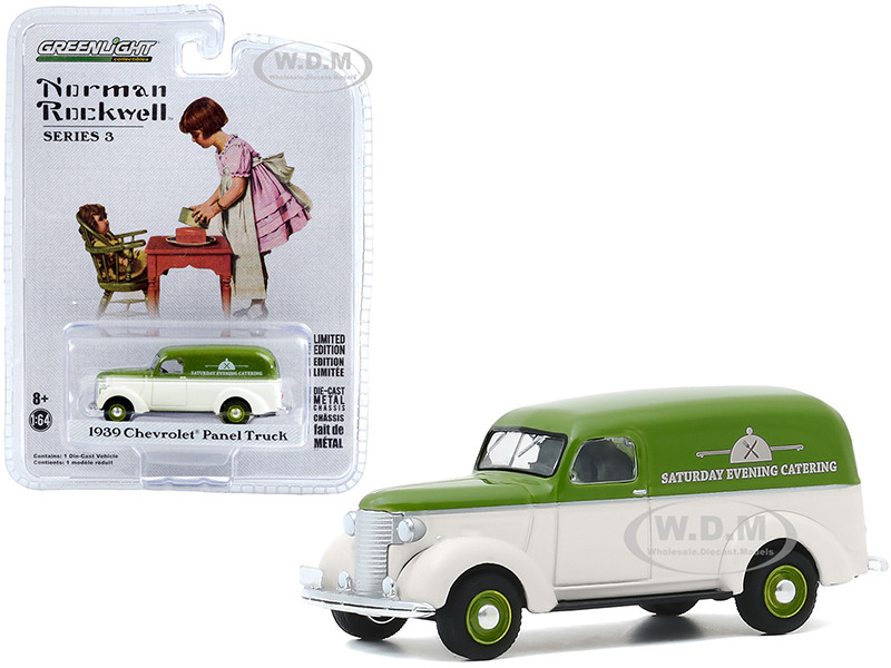 1939 Chevrolet Panel Truck Saturday Evening Catering Green Cream Norman Rockwell Series 3 1/64 Diecast Model Car Greenlight 54040 A