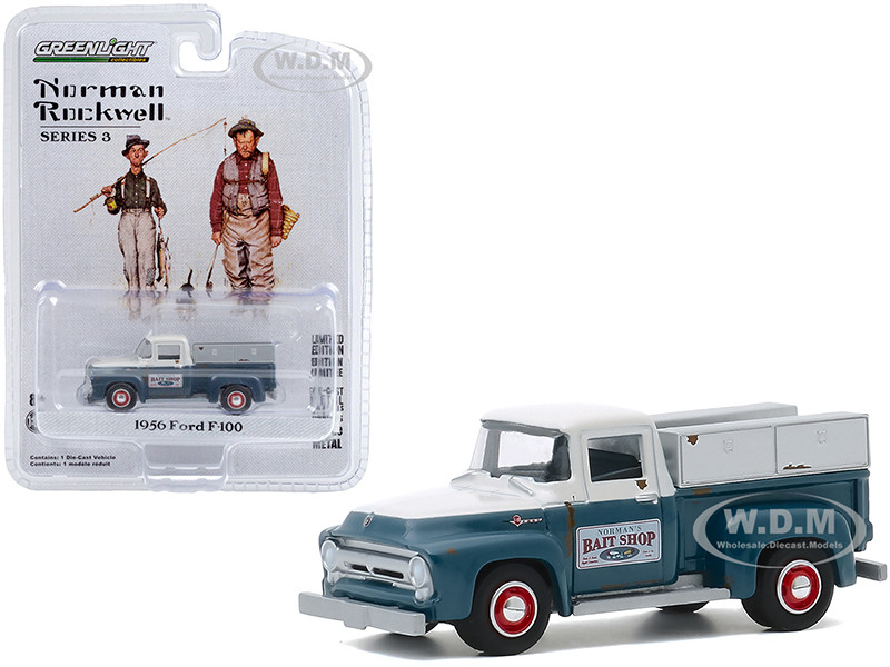 1956 Ford F-100 Pickup Truck Norman's Bait Shop White Blue Norman Rockwell Series 3 1/64 Diecast Model Car Greenlight 54040 C