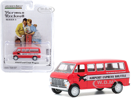 1968 Ford Club Wagon Airport Express Shuttle Red White Stripe Norman Rockwell Series 3 1/64 Diecast Model Car Greenlight 54040 D