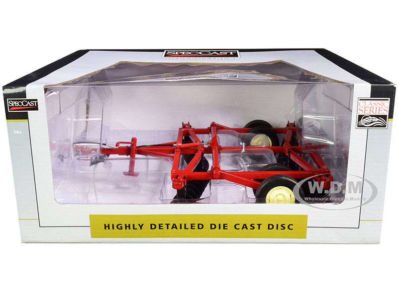 10 Foot Disc Harrow Red Classic Series 1/16 Diecast Model SpecCast CUST1961