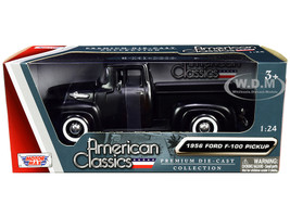 1956 Ford F-100 Pickup Truck Matt Black American Classics 1/24 Diecast Model Car Motormax 73235
