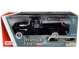 1955 Chevrolet 5100 Stepside Pickup Truck Black Whitewall Tires American Classics 1/24 Diecast Model Car Motormax 73236
