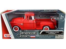 1955 Chevrolet 5100 Stepside Pickup Truck Matt Red Whitewall Tires American Classics 1/24 Diecast Model Car Motormax 73236