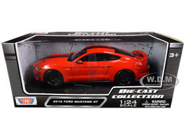 2018 Ford Mustang GT 5.0 Red Black Stripes 1/24 Diecast Model Car Motormax 79352