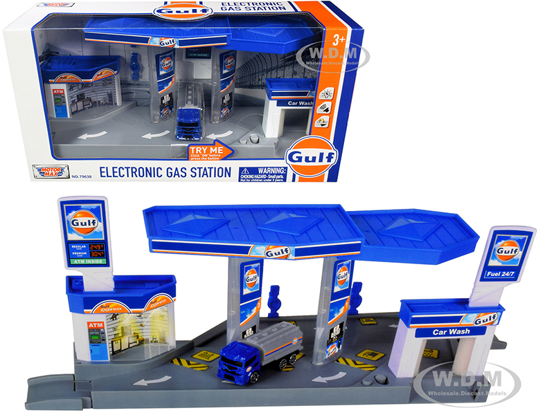 Gulf Electronic Gas Station Diorama Light Sound Tanker Truck 1/64 Model Motormax 79638
