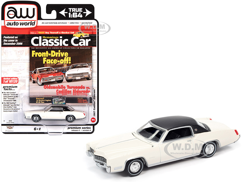 1967 Cadillac Eldorado Grecian White Flat Black Vinyl Top Hemmings Classic Car Magazine Cover Car December 2006 Limited Edition 10120 pieces Worldwide 1/64 Diecast Model Car Autoworld 64272 AWSP047 A