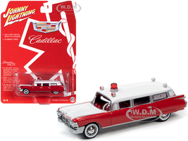 1959 Cadillac Ambulance Red White Special Edition 1/64 Diecast Model Car Johnny Lightning JLSP098