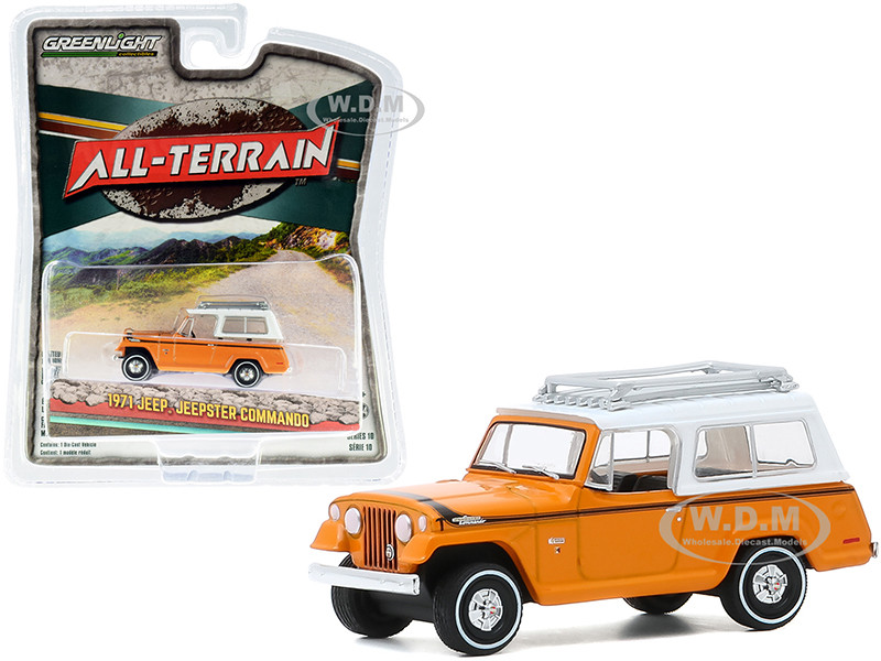 1971 Jeep Jeepster Commando Roof Rack Orange White Top All Terrain Series 10 1/64 Diecast Model Car Greenlight 35170 A