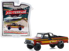 1978 Ford F-250 Off-Road Parts Pickup Truck Black Red Yellow Stripes All Terrain Series 10 1/64 Diecast Model Car Greenlight 35170 C