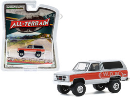 1984 GMC Jimmy Sierra Classic Lifted Silver Red Stripes All Terrain Series 10 1/64 Diecast Model Car Greenlight 35170 D